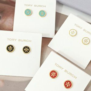 Tory Burch Enamel Candy Color Letter Round Earring